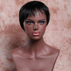 Masculine Synthetic Black Ultrashort Wig For Women