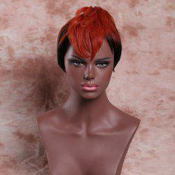 Faddish Short Fluffy Full Bang Palm Red Highlights Women's Synthetic Wig