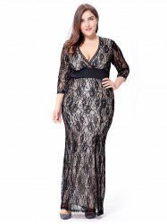 Empire Waist Plus Size Lace Bodycon Dress With SLeeves