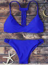 Spaghetti Strap Hollow Out Padded Bikini - BLUE