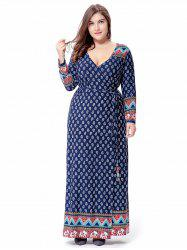 Long Sleeve Plus Size Belted Tribal Print Wrap Dress