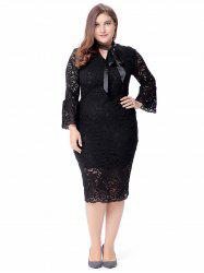 Plus Size Flare Sleeve Lace Dress