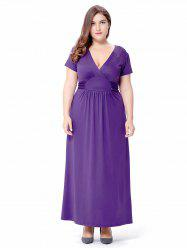 Plus Size Ruched Empire Waist Maxi Formal Dress