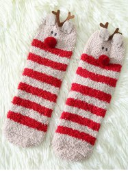 Coral Fleece Cartoon Deer Socks - RED