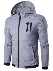 Number Print Zip Up Hooded Jacket
