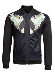 Zip Up Dove Print Bomber Jacket - BLACK 2XL