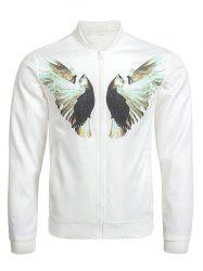 Zip Up Dove Print Bomber Jacket - WHITE 3XL