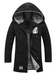 Zip Up Patch Flocking Hooded Coat