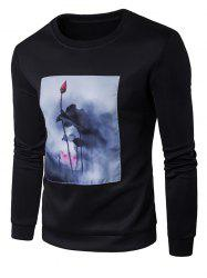 Lotus Painting Patched Crew Neck Sweatshirt