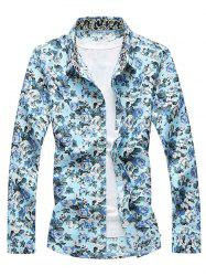Long Sleeve Buttoned Floral Printed Shirt