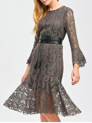 Flare Sleeve Sheer Lace Mermaid Prom Dress - GRAY XL