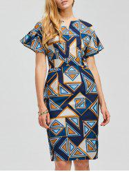 Short Sleeve Geometric Pattern Bodycon Dress