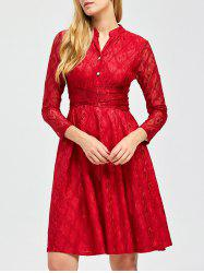 Stand Collar Lace Knee Length Dress