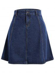 Knee Length Jean Skirt - BLUE