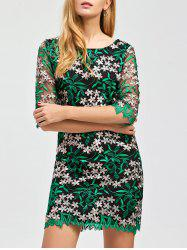 Floral Embroidered Mesh Panel Dress