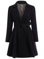 Noble Turn-Down Collar Long Sleeve Pure Color Self Tie Belt Women's Coat Dress - BLACK