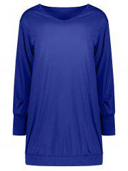 V Neck Long Sleeve Tunic Casual Dress - DEEP BLUE