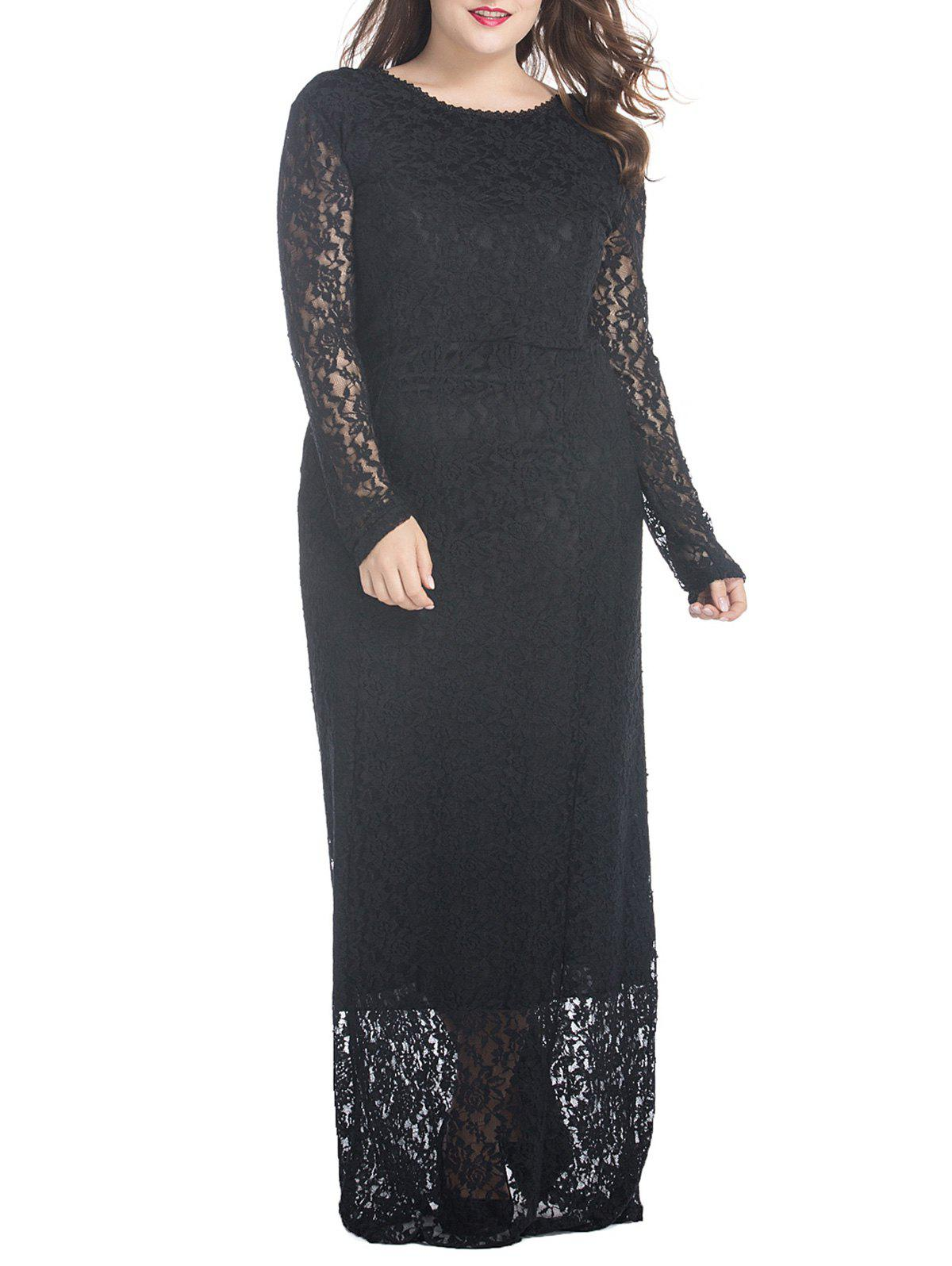Latest Plus Size Floral Lace Maxi Dress