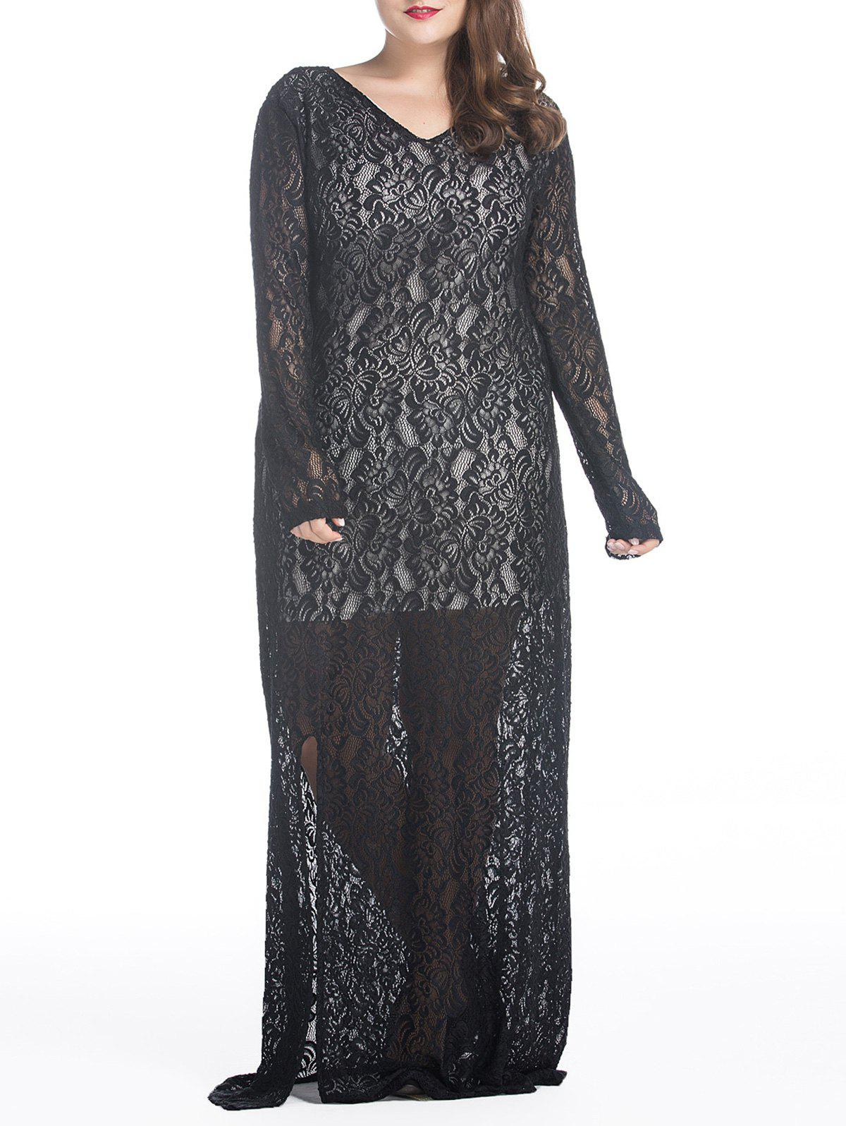Latest Plus Size Maxi Lace Long Sleeve Sheer Dress