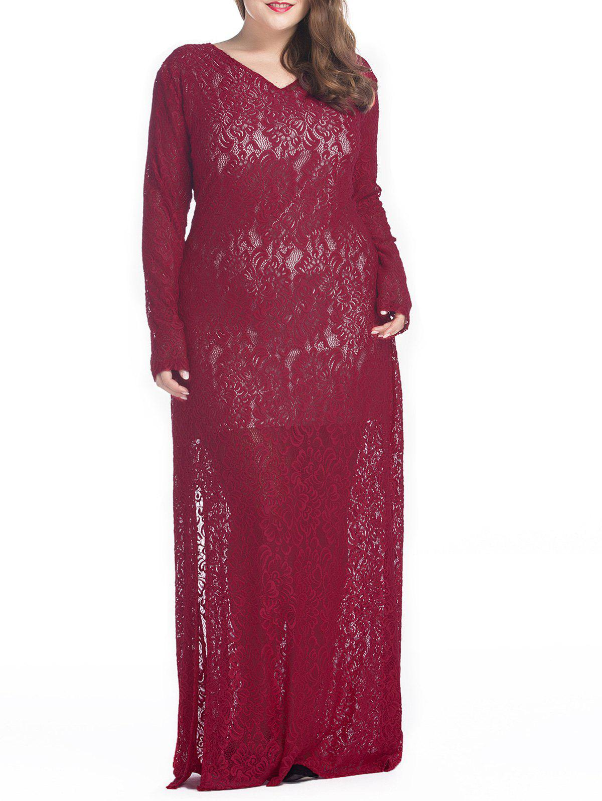 Affordable Plus Size Maxi Lace Long Sleeve Sheer Dress