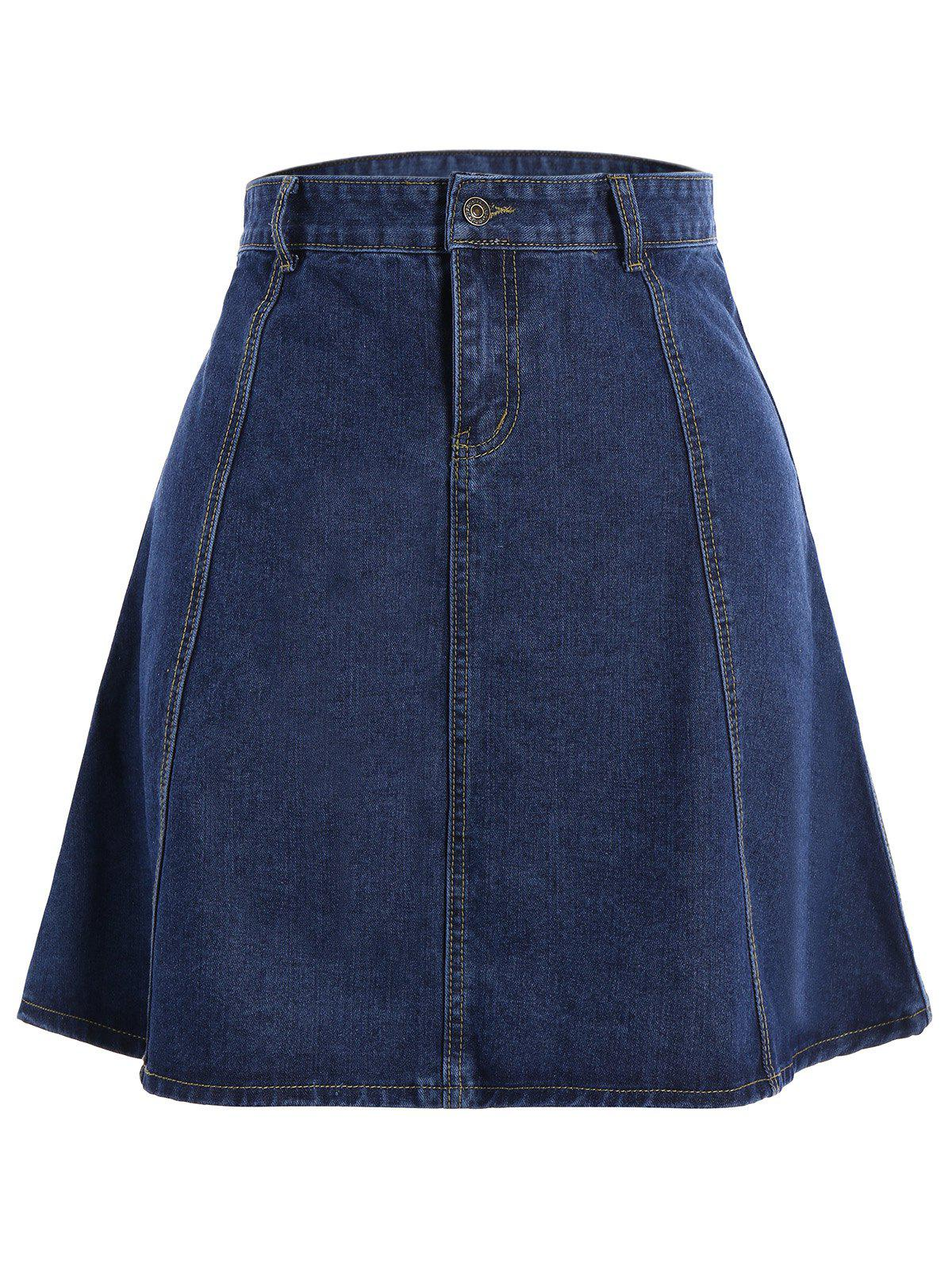 Knee Length Jean SkirtWOMEN<br><br>Size: XL; Color: BLUE; Material: Jean,Polyester; Length: Knee-Length; Silhouette: A-Line; Pattern Type: Solid; Season: Fall,Spring,Summer; With Belt: No; Weight: 0.530kg; Package Contents: 1 x Skirt;