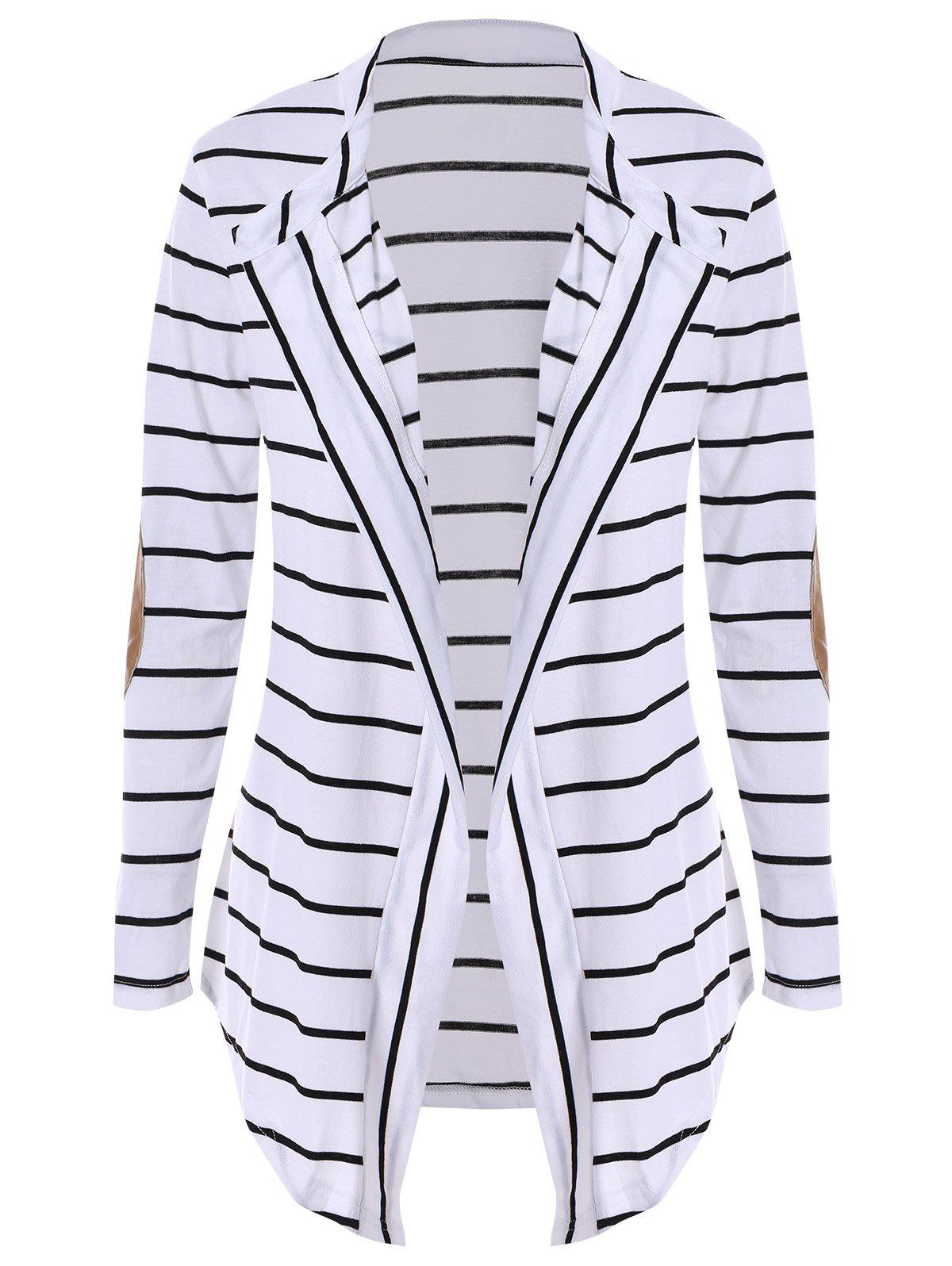 Chic Collarless Long Sleeve Spliced Striped Womens CardiganWOMEN<br><br>Size: XL; Color: WHITE; Type: Cardigans; Material: Polyester; Sleeve Length: Full; Collar: Collarless; Style: Fashion; Weight: 0.280KG; Package Contents: 1 x Cardigan;