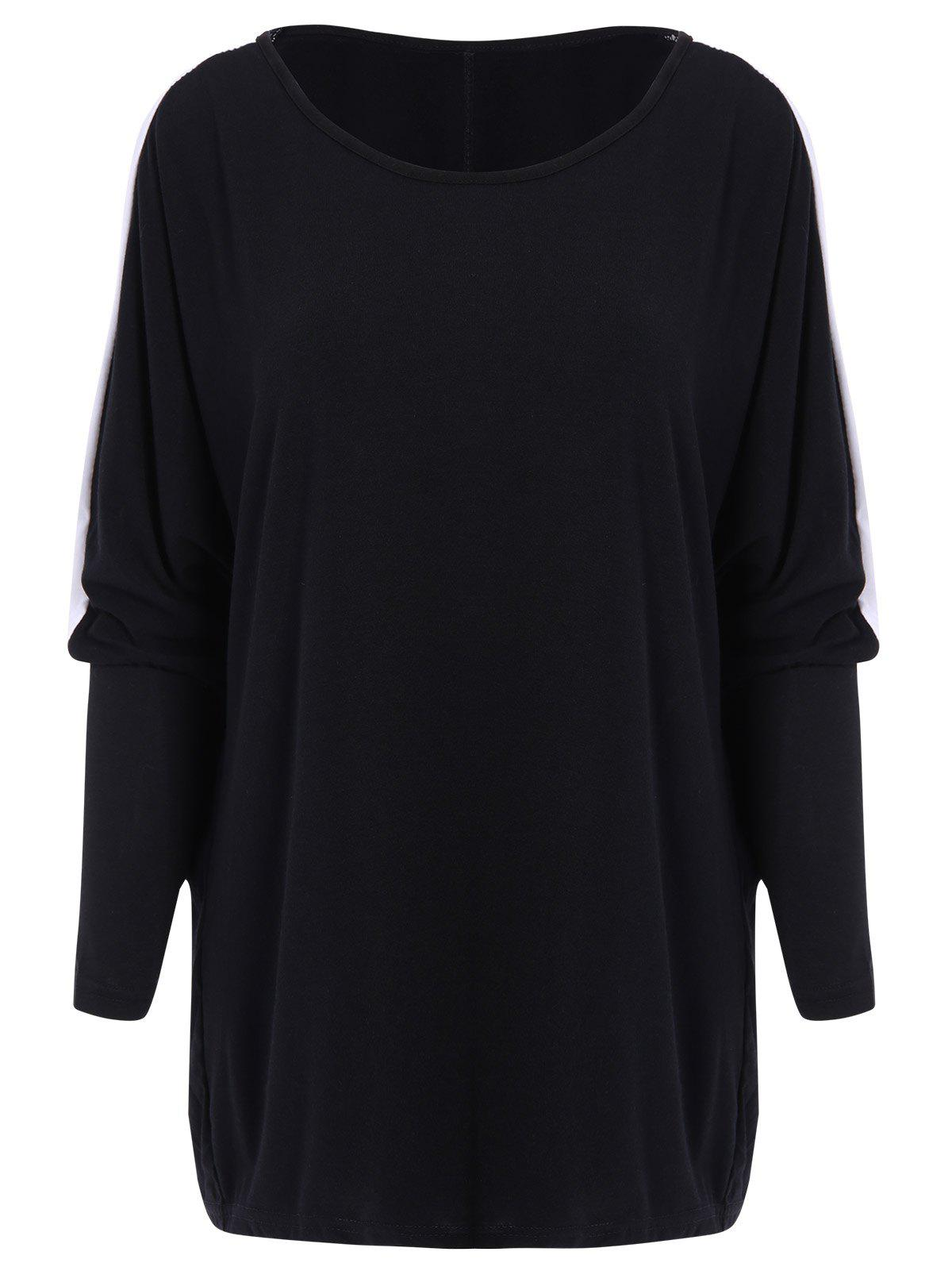 Trendy Color Block Loose-Fitting Style Bat-Wing Sleeves Scoop Neck Women's T-shirt