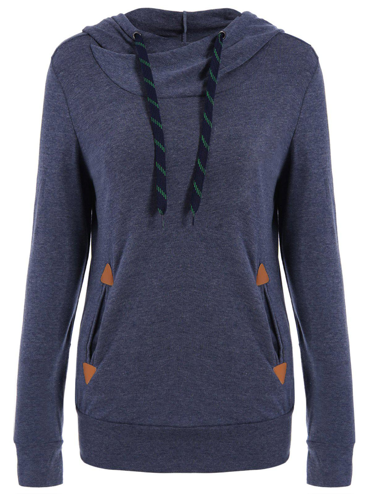 Drawstring Pocket Design Embroidered HoodieWOMEN<br><br>Size: M; Color: PURPLISH BLUE; Material: Polyester; Shirt Length: Long; Sleeve Length: Full; Style: Fashion; Pattern Style: Patchwork; Weight: 0.420kg; Package Contents: 1 x Hoodie;