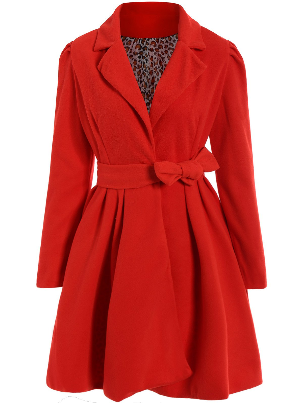 Noble Turn-Down Collar Long Sleeve Pure Color Self Tie Belt Womens Coat DressWOMEN<br><br>Size: XL; Color: RED; Clothes Type: Wool &amp; Blends; Material: Polyester; Type: Skirt; Shirt Length: Long; Sleeve Length: Full; Collar: Turn-down Collar; Pattern Type: Solid; Embellishment: Sashes; Style: Fashion; Season: Spring,Fall,Winter; With Belt: Yes; Weight: 0.850kg; Package Contents: 1 x Coat  1 x Belt;