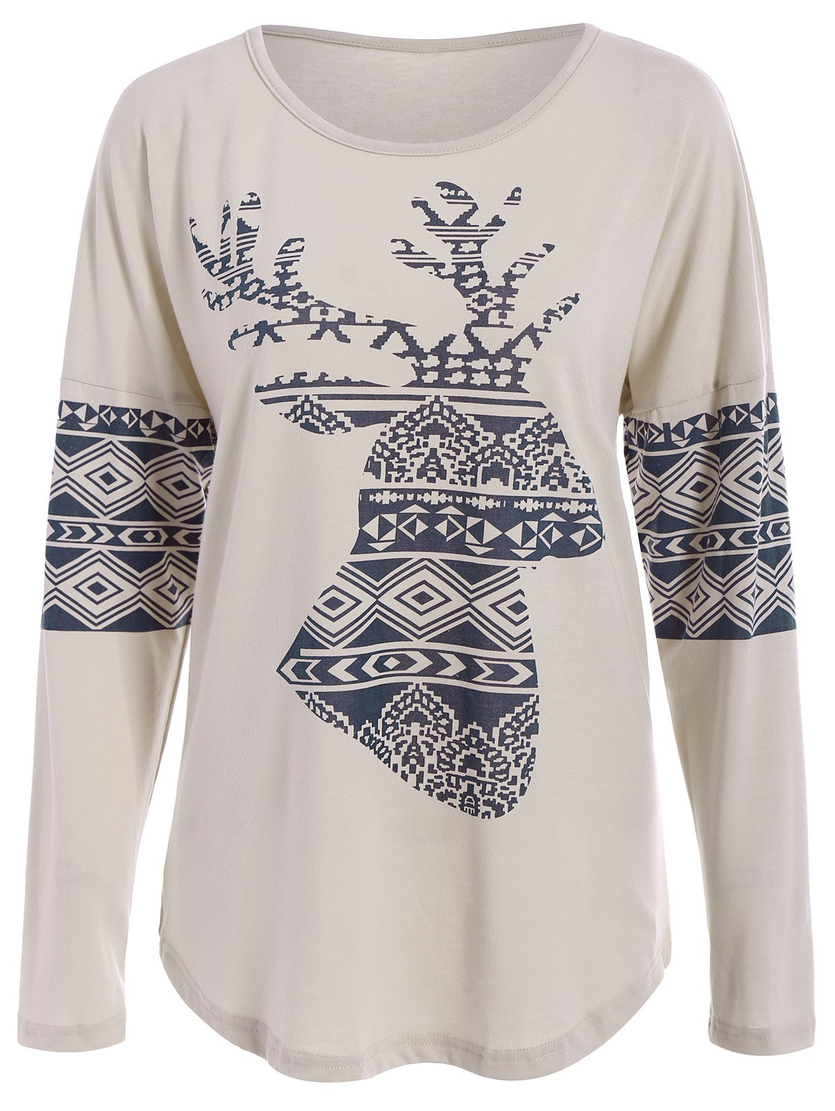 Unique Casual Scoop Neck Long Sleeve Elk Printed Christmas T-Shirt For Women
