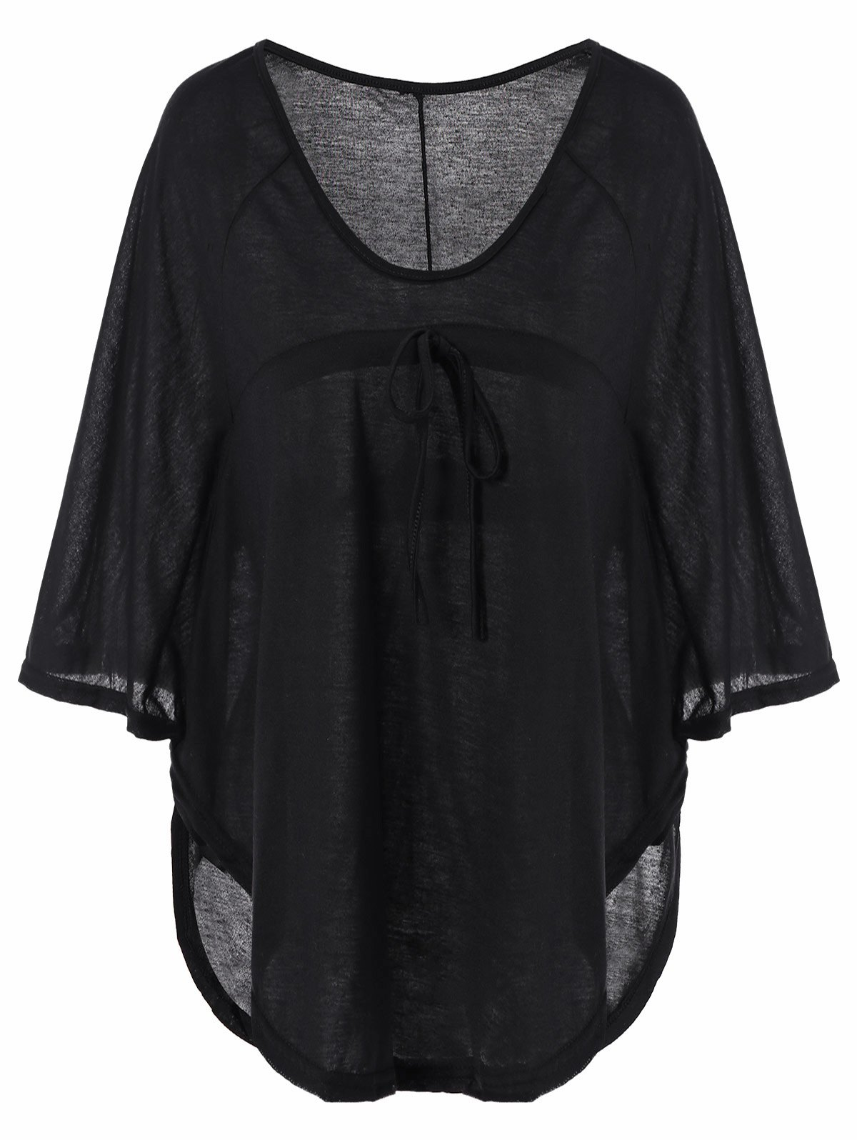 Plunging Neckline Plain Loose-Fitting Half Sleeve T-ShirtWOMEN<br><br>Size: 2XL; Color: BLACK; Material: Cotton Blends; Shirt Length: Regular; Sleeve Length: Half; Collar: Plunging Neck; Style: Fashion; Pattern Type: Solid; Weight: 0.190kg; Package Contents: 1 x T-Shirt;