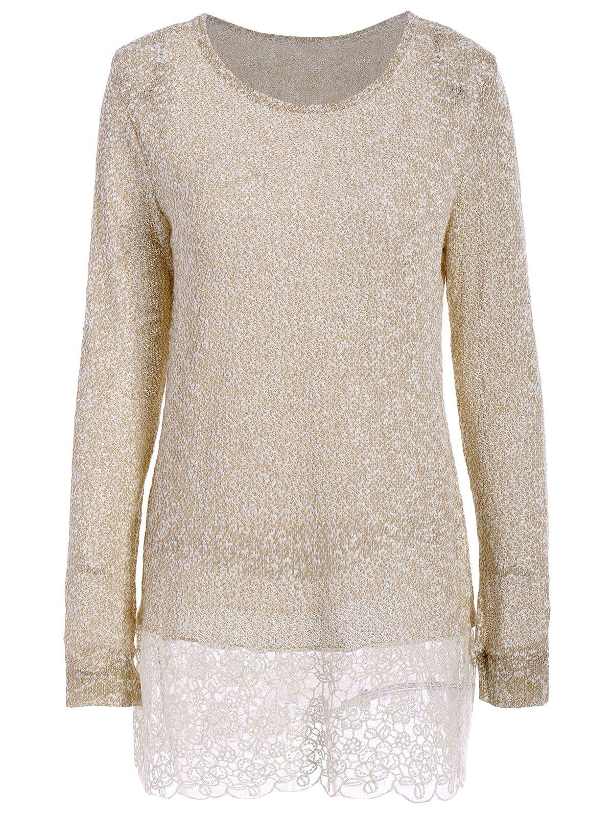 New Lace Edge Long Sleeve Long T-Shirt