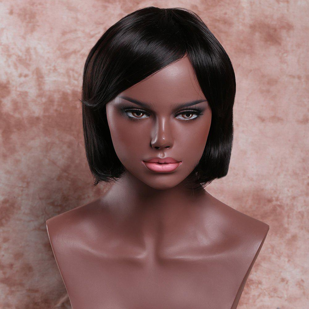 Chic Short Side Bang Straight Deep Brown Women's Ladylike Synthetic Hair Wig