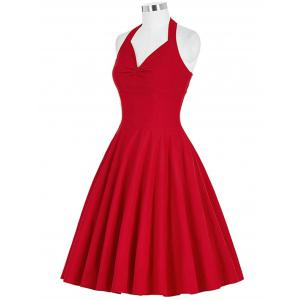 Lace-Up Halter Vintage Swing Corset Club Dress - RED 2XL