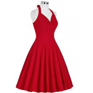 Lace-Up Halter Vintage Swing Corset Club Dress - Rouge XL