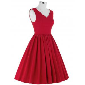 Scalloped A Line Swing Cocktail Dress - RED 2XL