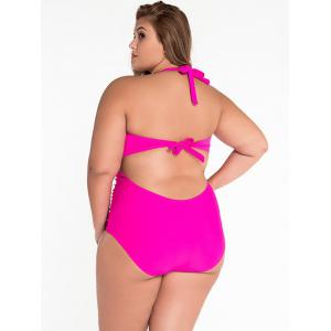 Cut Out Halter Ruched One Piece Swimsuit - ROSE 3XL
