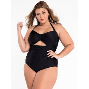 Cut Out Halter Ruched One Piece Swimsuit -