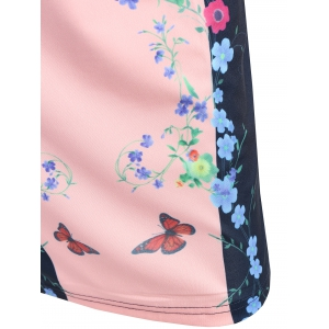 Knee Length Bodycon Floral Fitted Dress - SHALLOW PINK 2XL