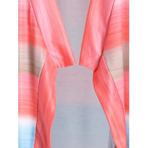 Collarless Long Sleeve Color Block Asymmetrical Knit Cardigan - COLORMIX S