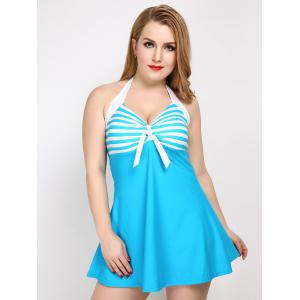 Vintage Plus Size Striped Halter Tankini Swimsuit