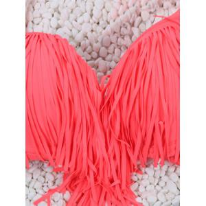 Halter High Waisted Bikini Set With Fringe Top - WATERMELON RED L