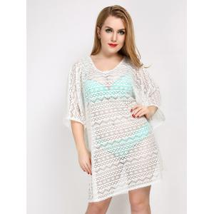 Plus Size Hollow Out Sheer Lace Cover Up - White - One Size