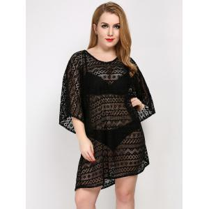 Plus Size Hollow Out Sheer Lace Cover Up - Black - One Size