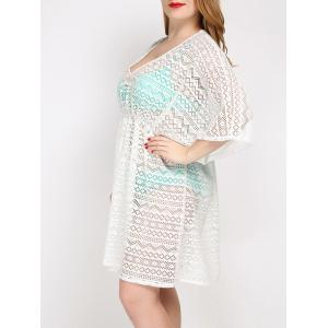 Plus Size V Neck Tunic Dress Cover Up - WHITE ONE SIZE