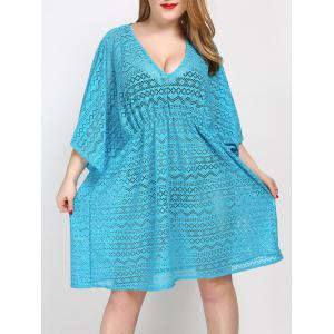 Plus Size V Neck Tunic Dress Cover Up -
