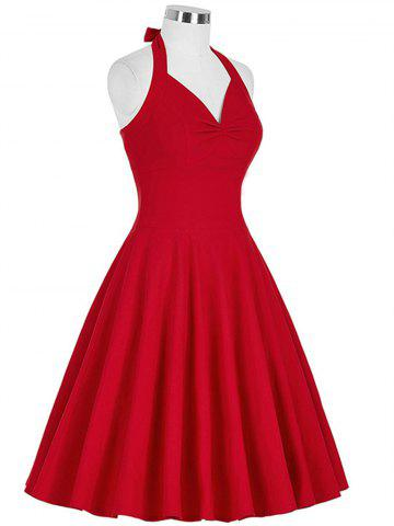 Hot Lace-Up Halter Vintage Corset Club Dress - L RED Mobile