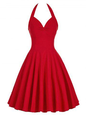 Lace-Up Halter Vintage Swing Corset Club Dress Rouge XL