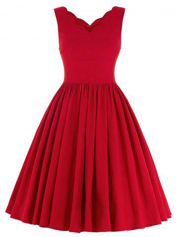 Sale Scalloped A Line Swing Cocktail Dress - S RED Mobile