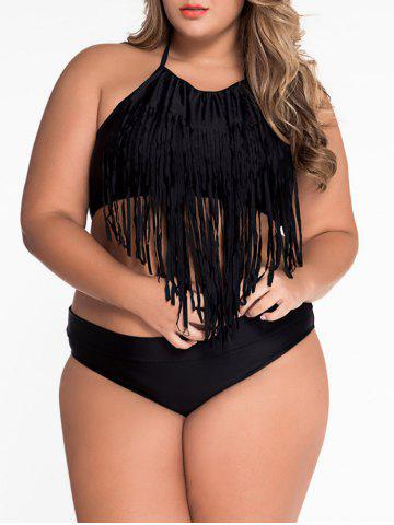 Cheap Halter Sleeveless Fringe Embellished Bathing Suit - XL BLACK Mobile